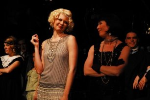 Nicole Sterling (Queenie) & Julie Cardia (Kate) in Lippa's The Wild Party (1st New York production after original off-Broadway production)